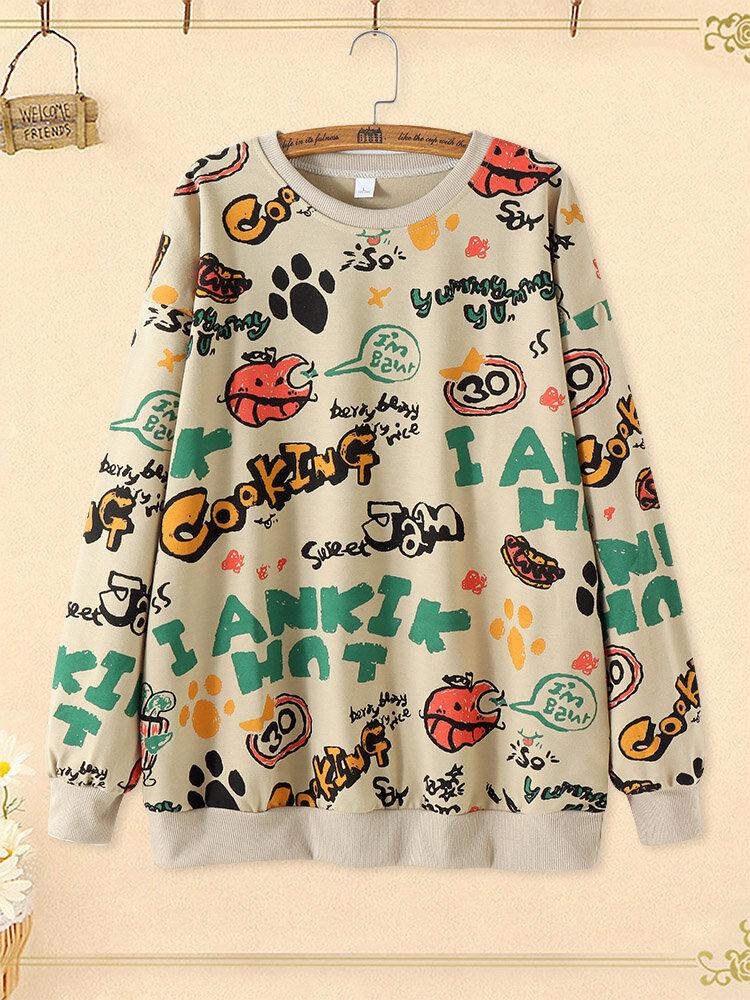 Cartoon Letter Graffiti Print Crew Neck  Plus Size Pullover Sweatshirt