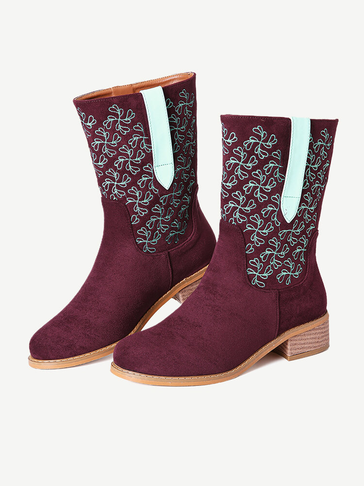LOSTISY Suede Stitching Knight Casual Mid Calf Cowboy Boots