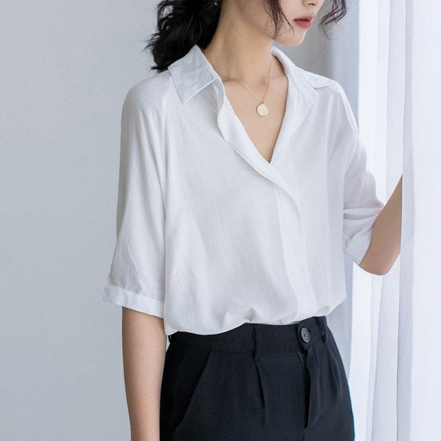 Season Simple V-neck OL Professional Foreign Short-sleeved Shirt White Collar Ch Wind Bat Shirt Shirt Women's Clothing