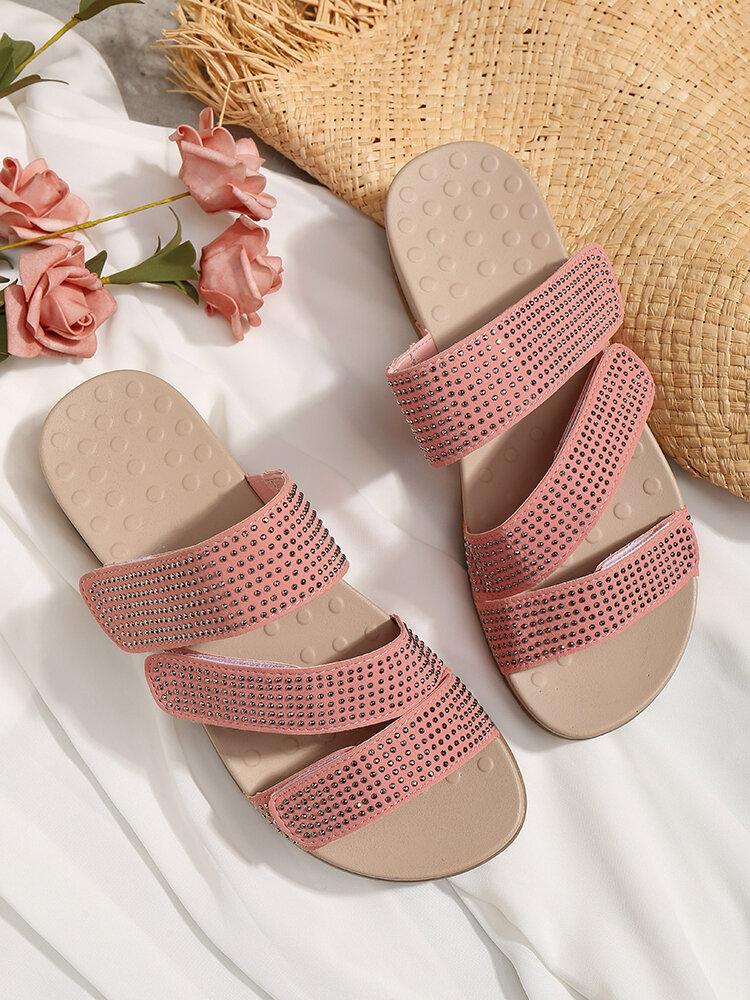 Plus Size Women Rhinestone Opened Toe Hook Loop Platform Casual Slide Sandals