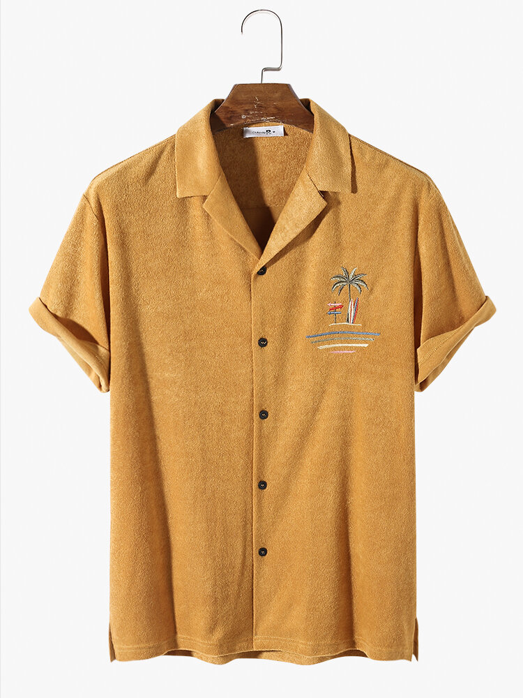 Mens Towelling Palm Tree Embroidery Button Up Short Sleeve Shirts