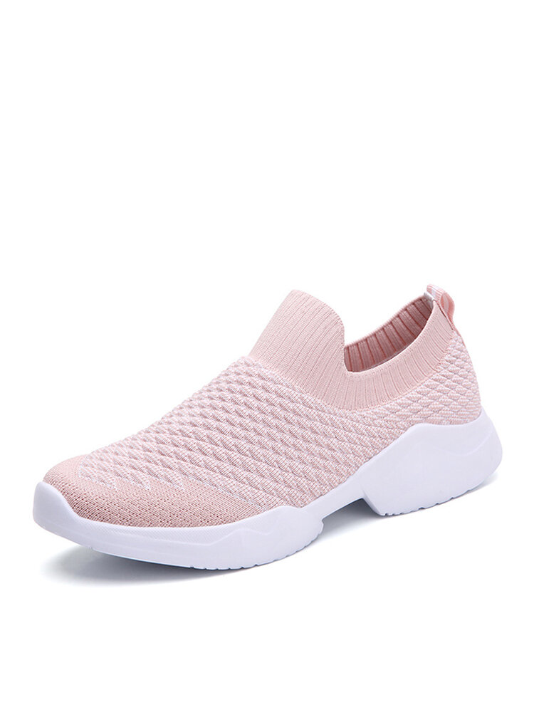 Women Comfy Breathable Elastic Knitted Fabric Running Shoes Flat Sock Sneakers