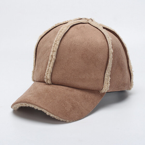 Women Winter Warm Suede Baseball Cap Outdoor Windproof Warm Hats Adjustable Sports Cap