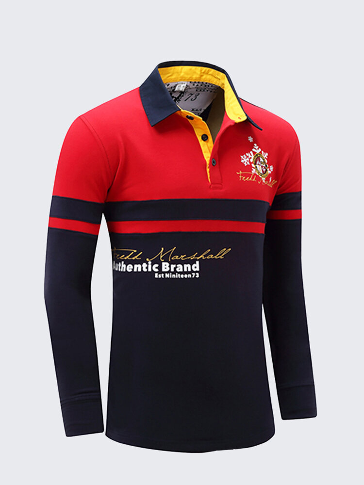 Mens Fall Winter Stitching Color Letter Printed Casual Cotton Golf Shirt