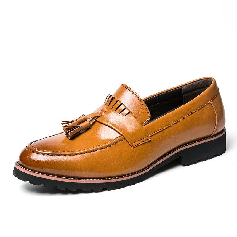 Men Microfiber Leather Tassel Slip Resistant Business Casual Formal Shoes