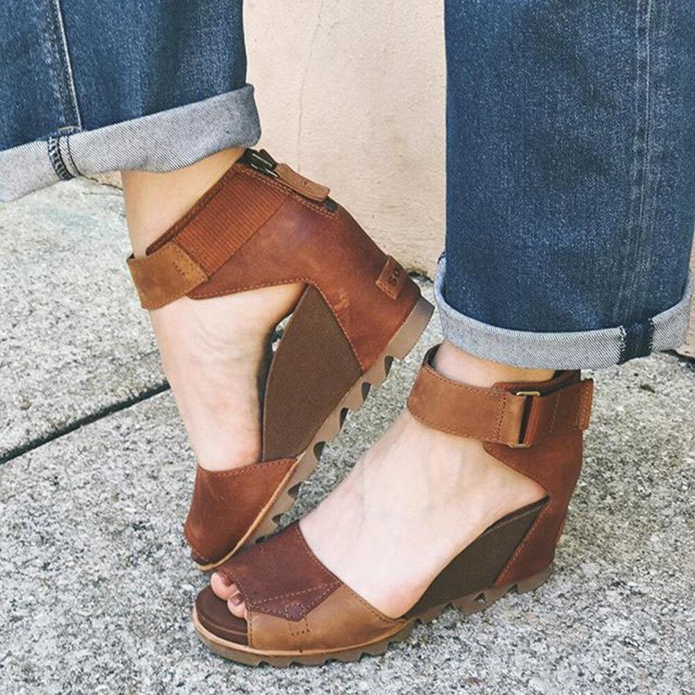 Big Size Women Comfy Splicing Peep Toe Zipper Wedges Sandals