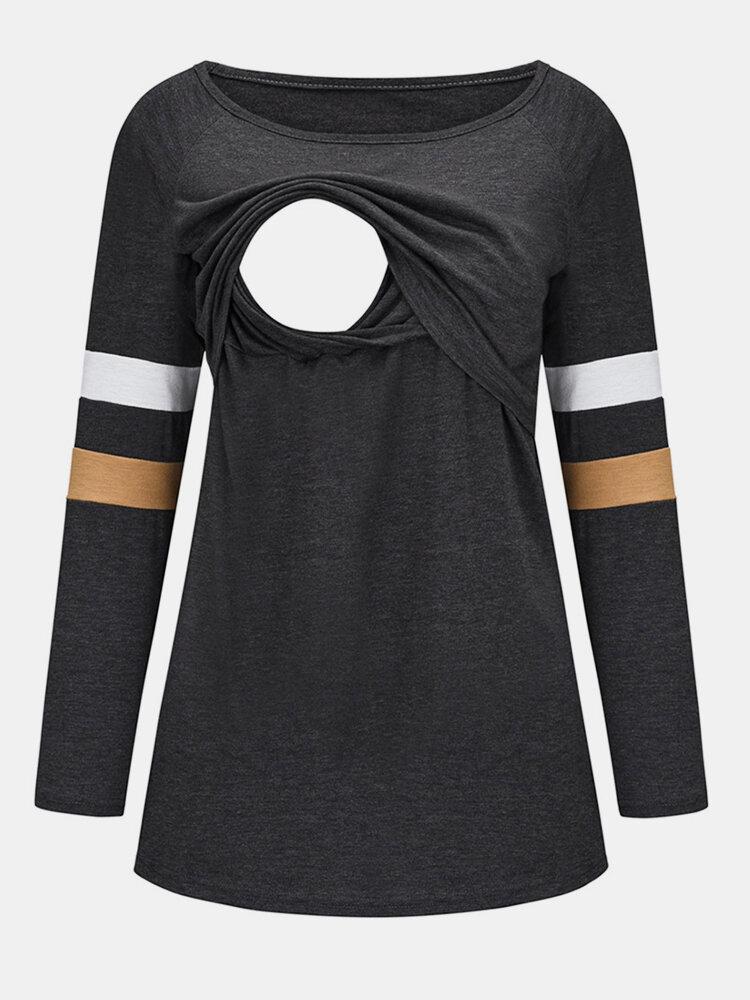 T-shirt premaman per l'allattamento a maniche lunghe patchwork con stampa a righe