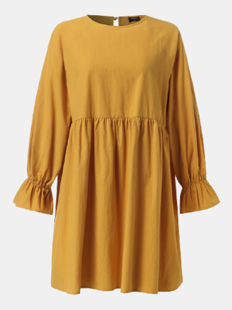 Solid Color O-neck Lantern Sleeve Plus Size Pleated Dress for Women