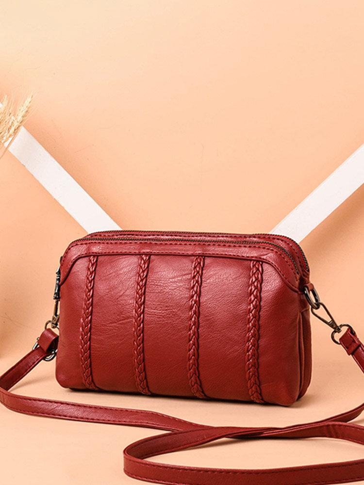 Women Vintage Soft PU Leather Crossbody Bag Solid Double Layer Shoulder Bag