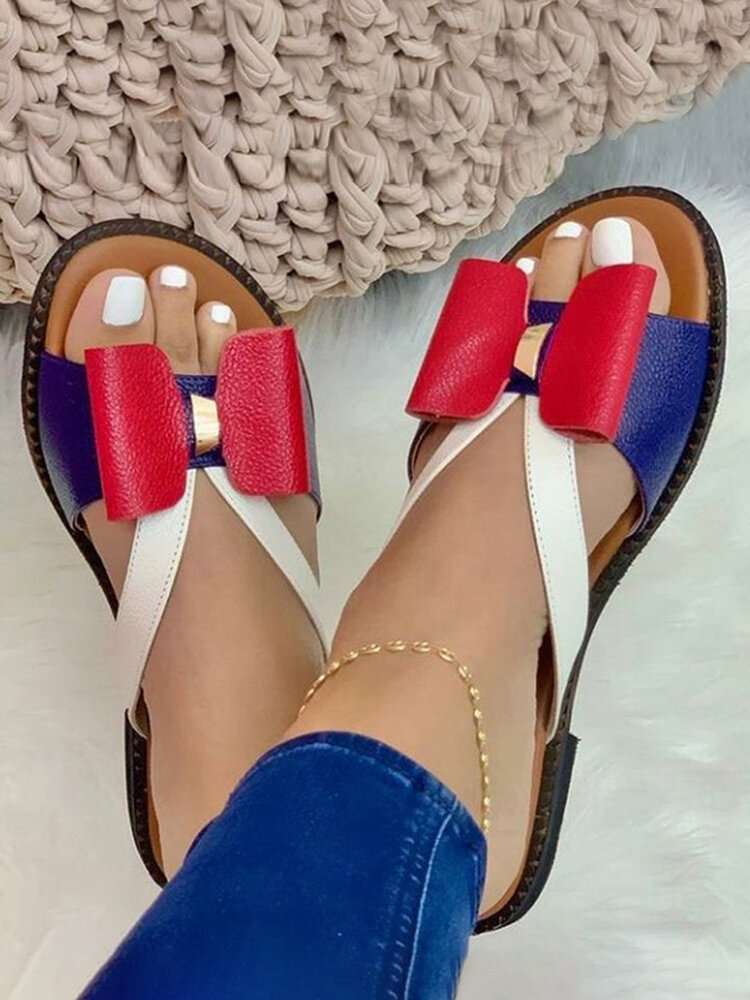 Plus Size Color Splicing Bow Round Toe Flat Slippers For Women