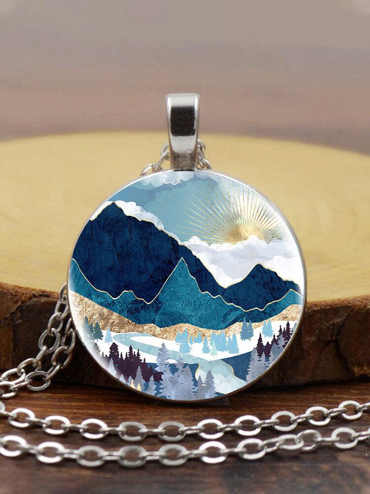 Trendy Metal Round Landscape Print Glass Pendant Necklace