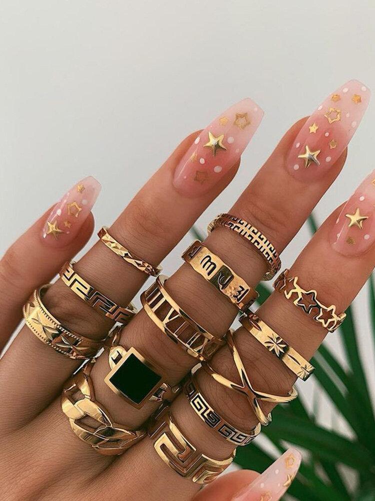 13 Pcs/Set Exaggerate Punk Metal Ring Set Star Black Gem Mount Women Ring Jewelry Kit