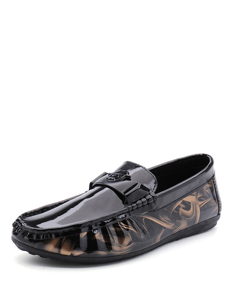 Men Brief Patent Leather Folds Design Hand Stitching Driving Shoes