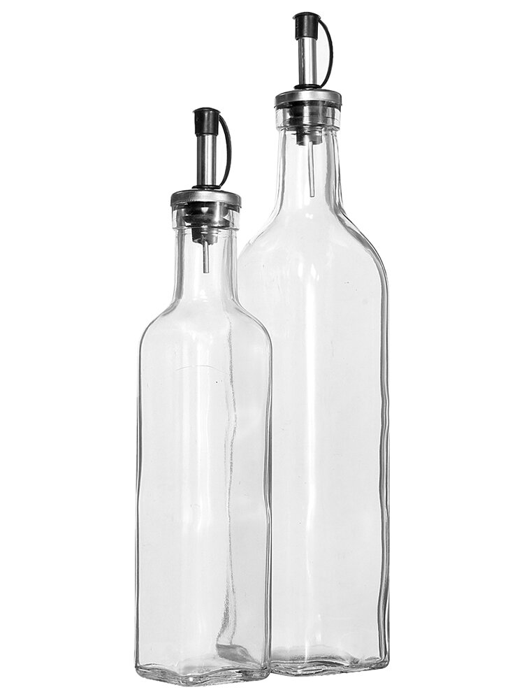 Clear Olive Oil Glass Pouring Bottle Vinegar Spout Cruet Seasoning Kitchen Cooking Tool Bottles