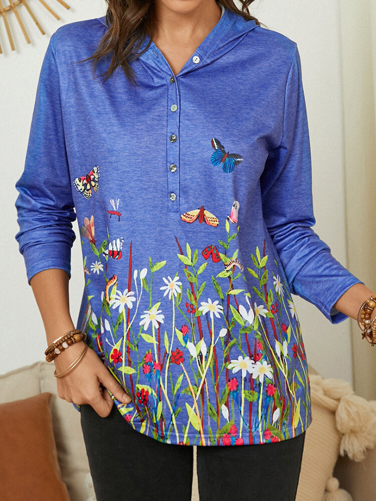 Flower Butterfly Printed Long Sleeve Plus Size Button Hoodie For Women