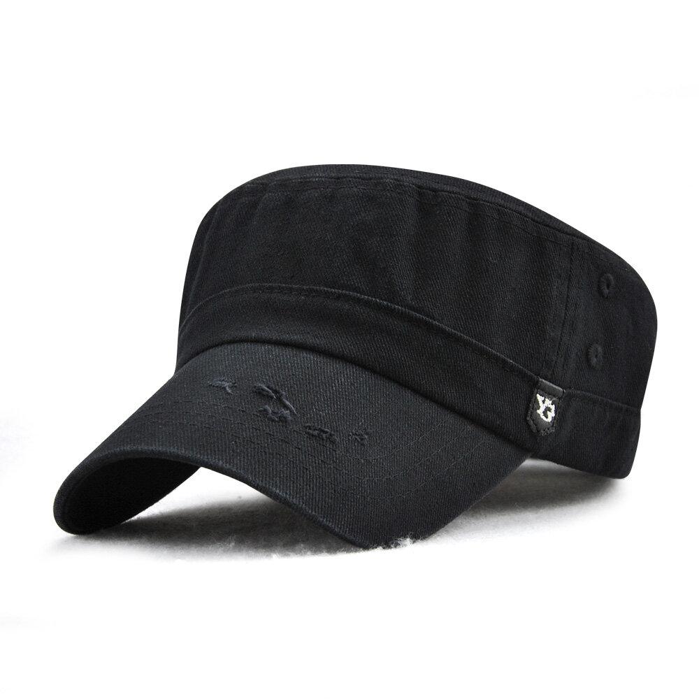 Mens Vintage Cotton Solid Color Flat Cap Outdoor Sport Summer Breathable Forward Caps