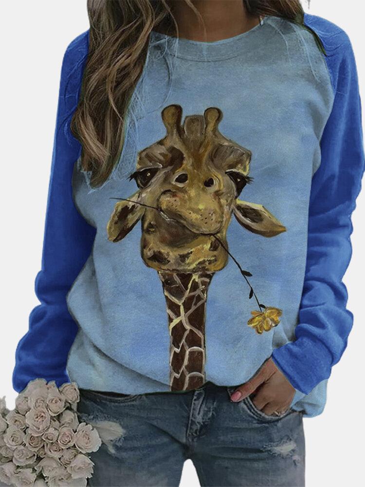 Cartoon Giraffe Printed O-neck Pullover Graphic Sweatshirt For Women