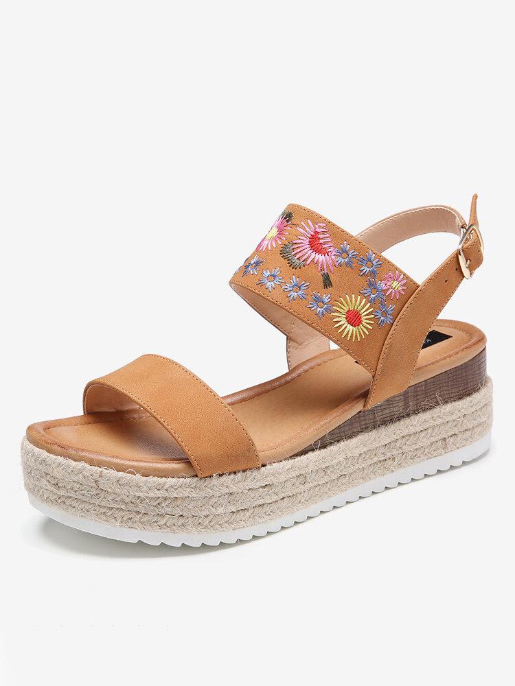 Lostisy Women Flowers Embroidered Slingback Espadrilles Buckle Platform Sandals