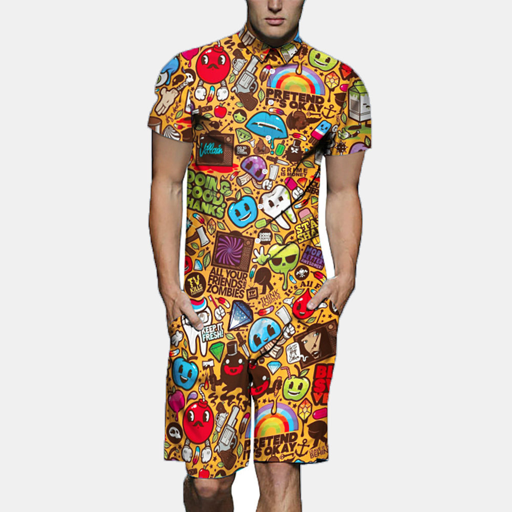 Mens_Funny_Cartoon_Print_Jumpsuit_Buttons_Fly_Thin_Breathable_Beachwear_Suit