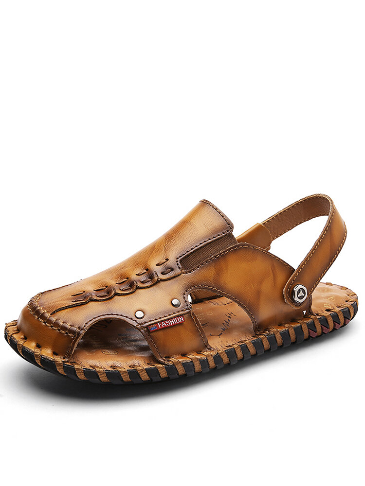 Men Cowhide Leather Closed Toe Two Ways Wearing Stitching Sandals