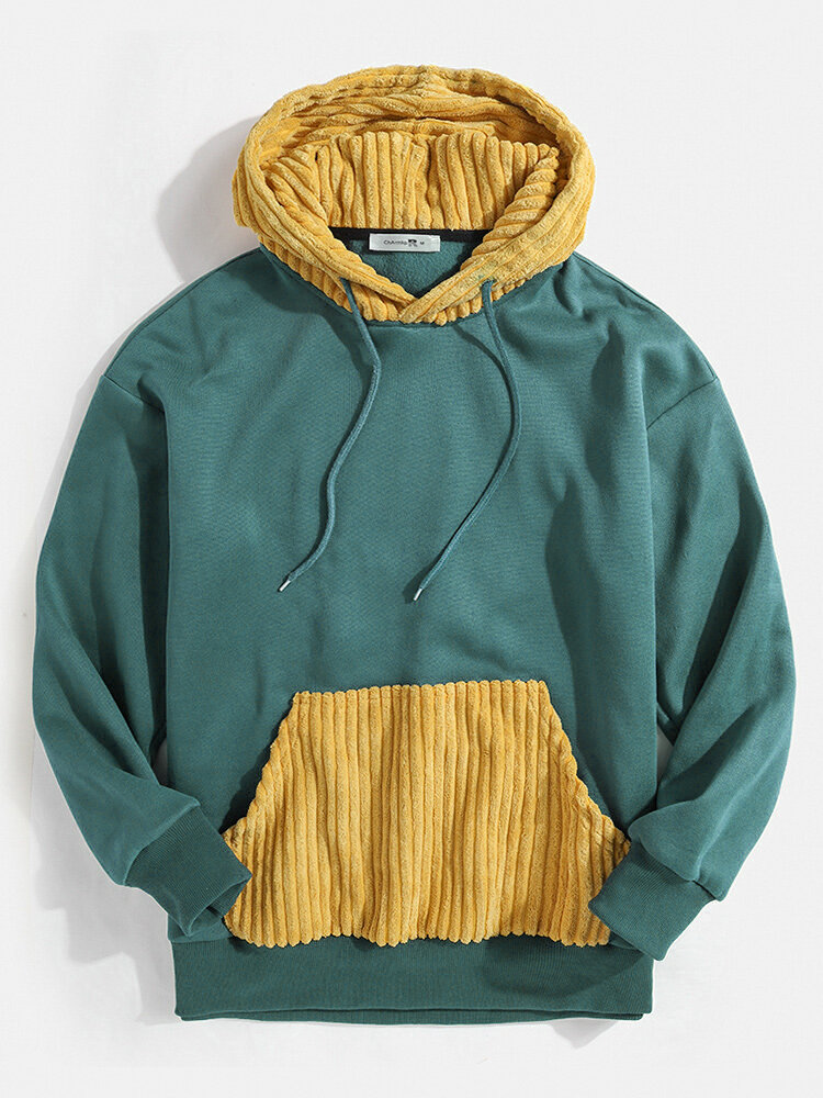 Mens Contrast Patchwork Casual Relaxed Fit Kangaroo Pocket Drawstring Hoodies