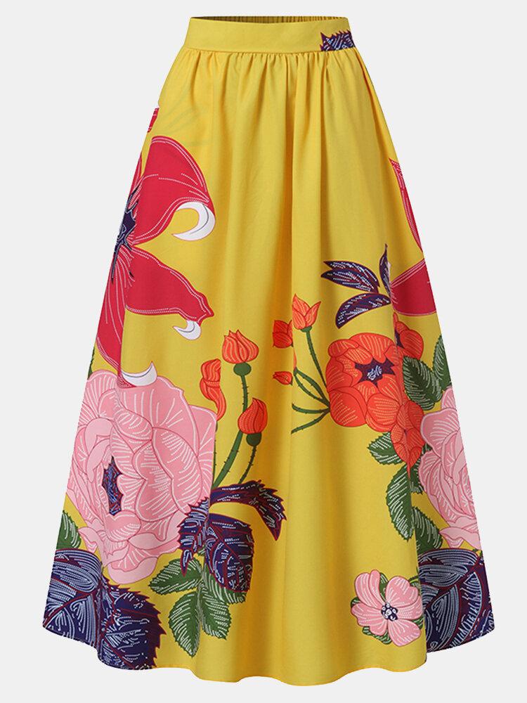 Calico Print Elastic High Waist Pocket Vintage Skirt For Women