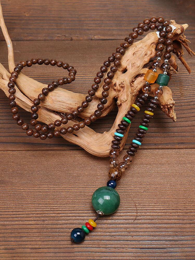 Vintage Handmade Buddha Beads Long Necklace Ethnic Irregular Crystal Pendant Sweater Chain