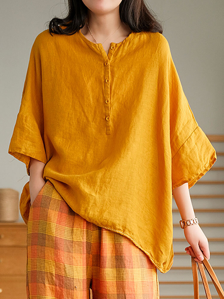 Solid Color Loose O-neck Button 3/4 Length Sleeve Vintage Blouse
