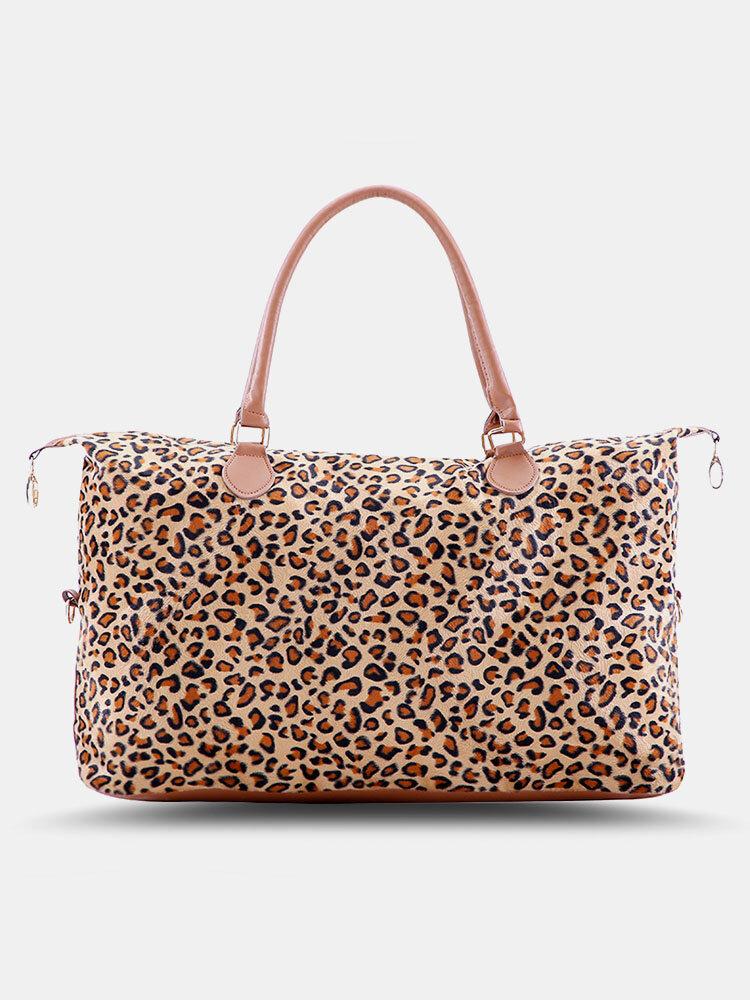 Natural Leopard Cow Pattern Tote Comfy Handle Waterproof Wearable Handbag