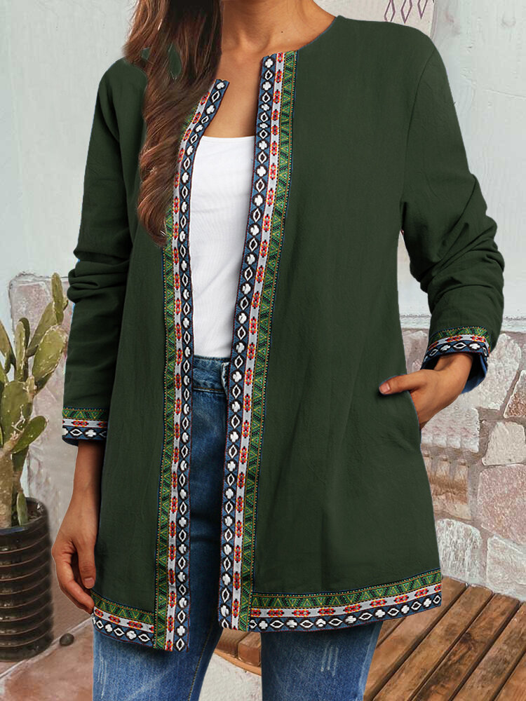 Vintage Ethnic Webbing Print Plus Size Jackets with Pockets