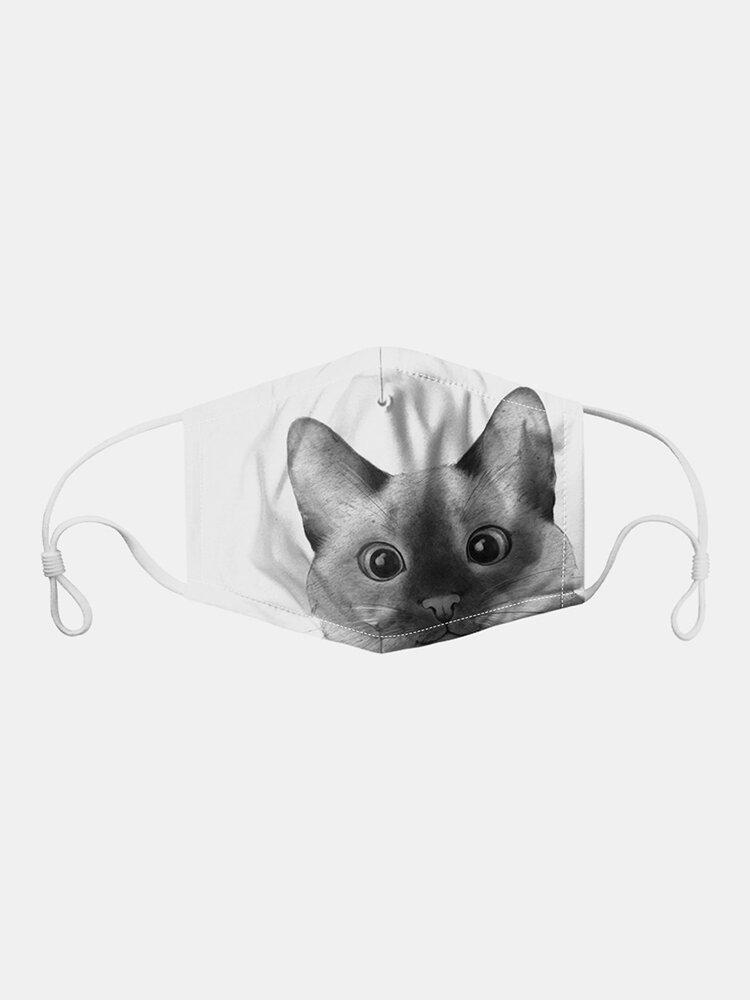 Cat Pattern Polyester Fashion Dustproof Mask With 7 Mask Gaskets