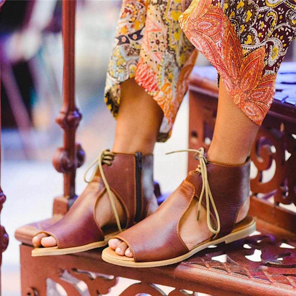Women Hollow Out Comfy Retro Size Zipper Casual Flat Sandals