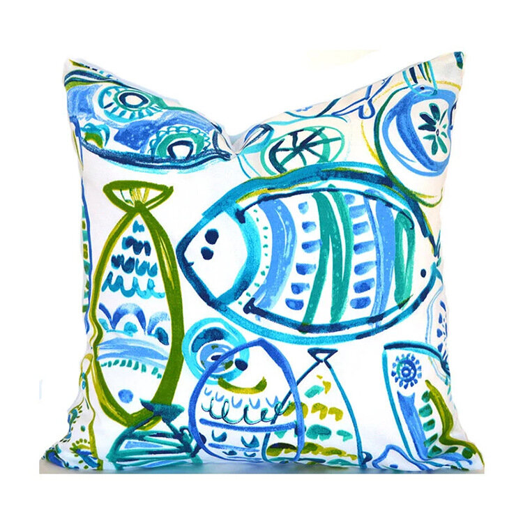 "17.7"" Tropical Plants Fish Bird Indian Bohemian Cushion Cover Square Home Decor Pillowcase"