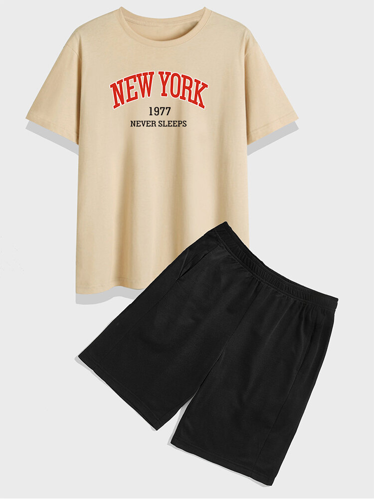 Mens New York Print Crew Neck Varsity Preppy Two Pieces Outfits