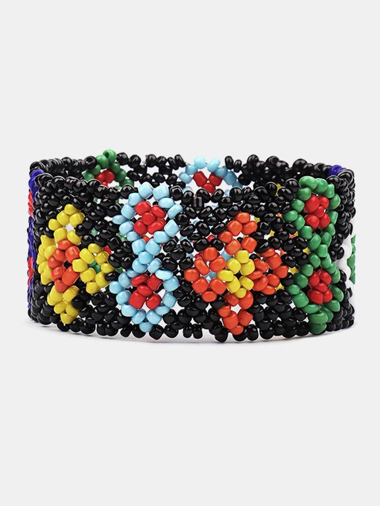 Ethnic Geometric Floral Hand-woven Bracelet Bohemian Rice Beads Wide Bracelet Chic Jewelry