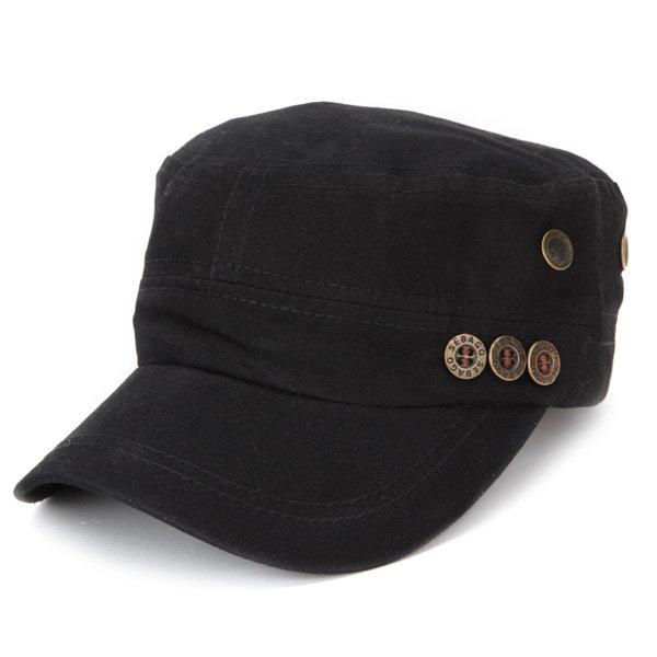 Men Women Button Cotton Hats Washed Adjustable  Flat Baseball Cap