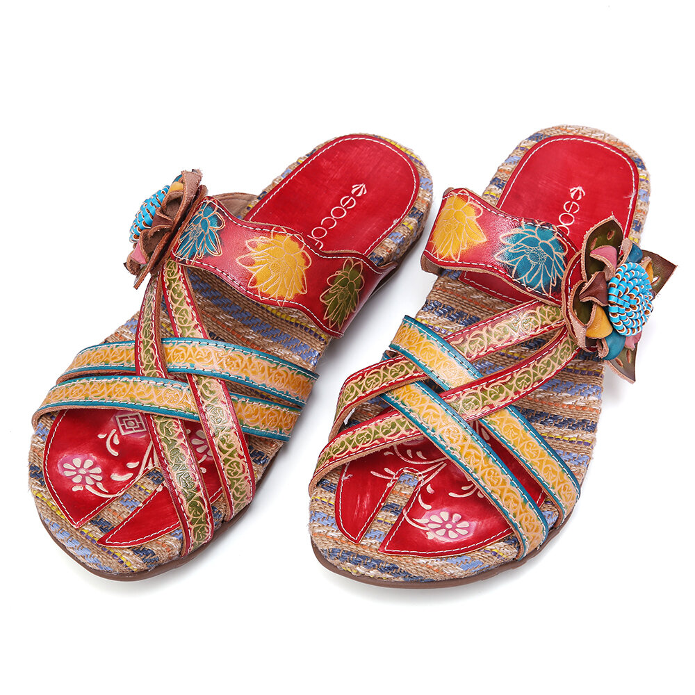 SOCOFY Retro Leather Stitching Embossed Floral Strappy Flat Slides Sandals Espadrilles