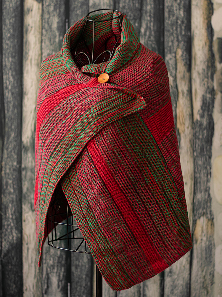 Women's Casual Multicolor Stripes Round Neck Scarves&Shawls Buttoned Crochet Wrap Pattern