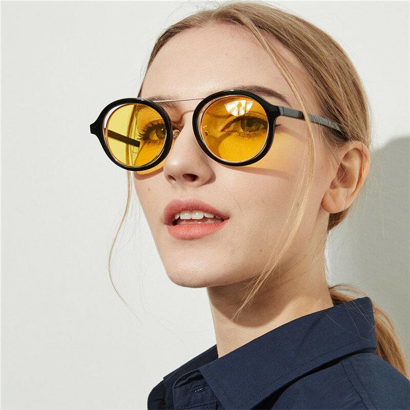 Femmes rondes Vogue Parasol Anti-UV Transparent Vacances Extérieures Lunettes de Soleil Polarisées