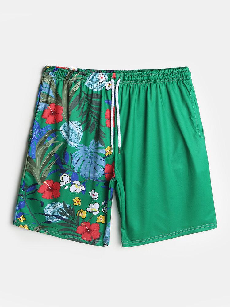 Mens Tropical Print Drawsrting Board Shorts Pocket Swim Trunk