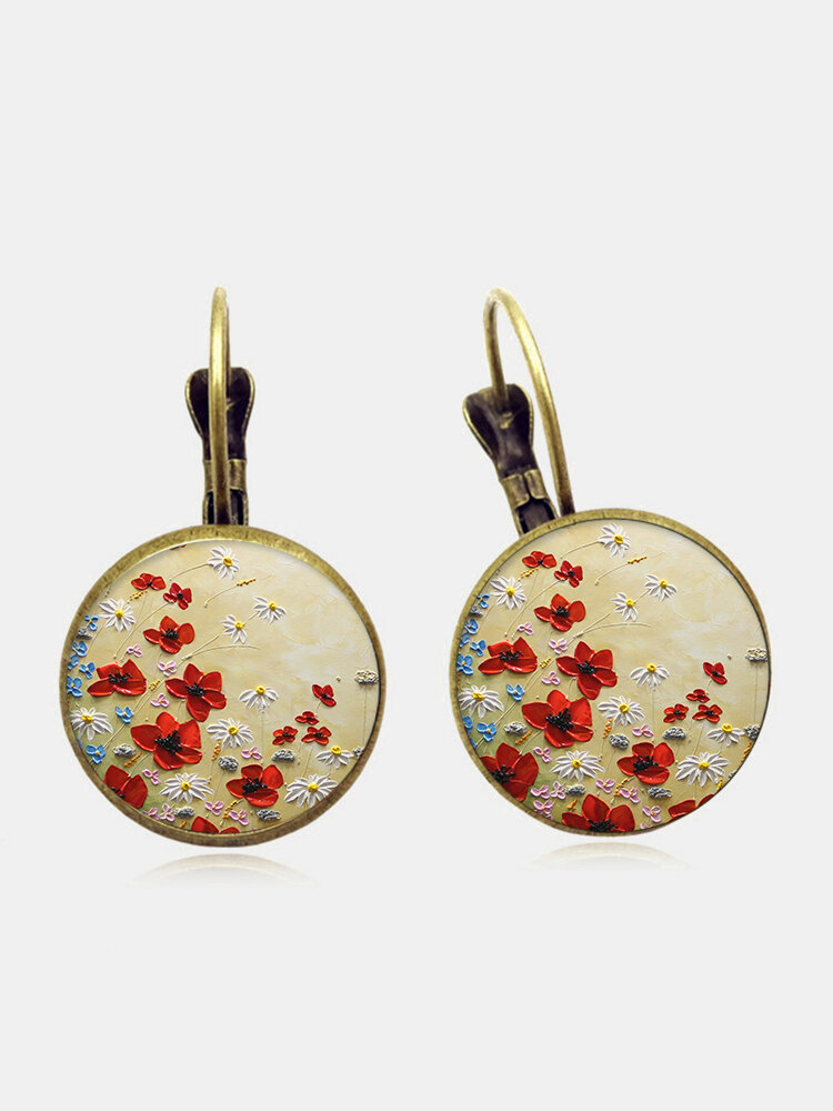 Vintage Geometric Round Alloy Glass Red Floral Pattern Print Earrings