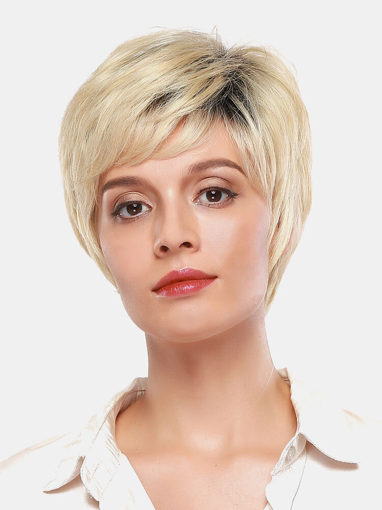 8 Inch Linen White Gold Short Human Hair Wigs Fluffy Breathable Hair Wig Social Gathering Dating