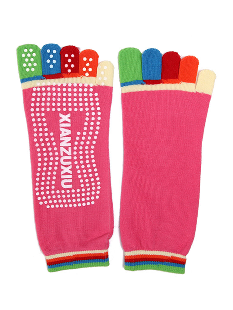 Women Colorful Toe Yoga Anti-Skid Socks Gym Exercise Fitness Sports Pilates Comfortable