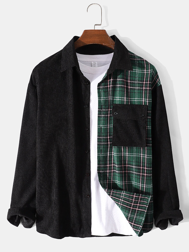 Mens Plaid Corduroy Patchwork Button Up Long Sleeve Shirts With Flap Pocket