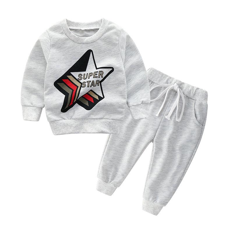 2pcs garçons vêtements ensembles sweat imprimé + pantalon pour 1Y-7Y