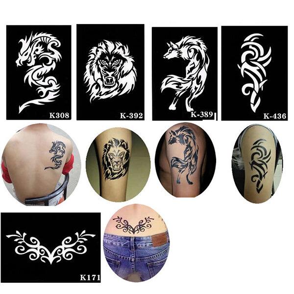 Henna Fake Tattoo Stencil Totem Templates Sticker Waterproof Temporary Body Art Paint