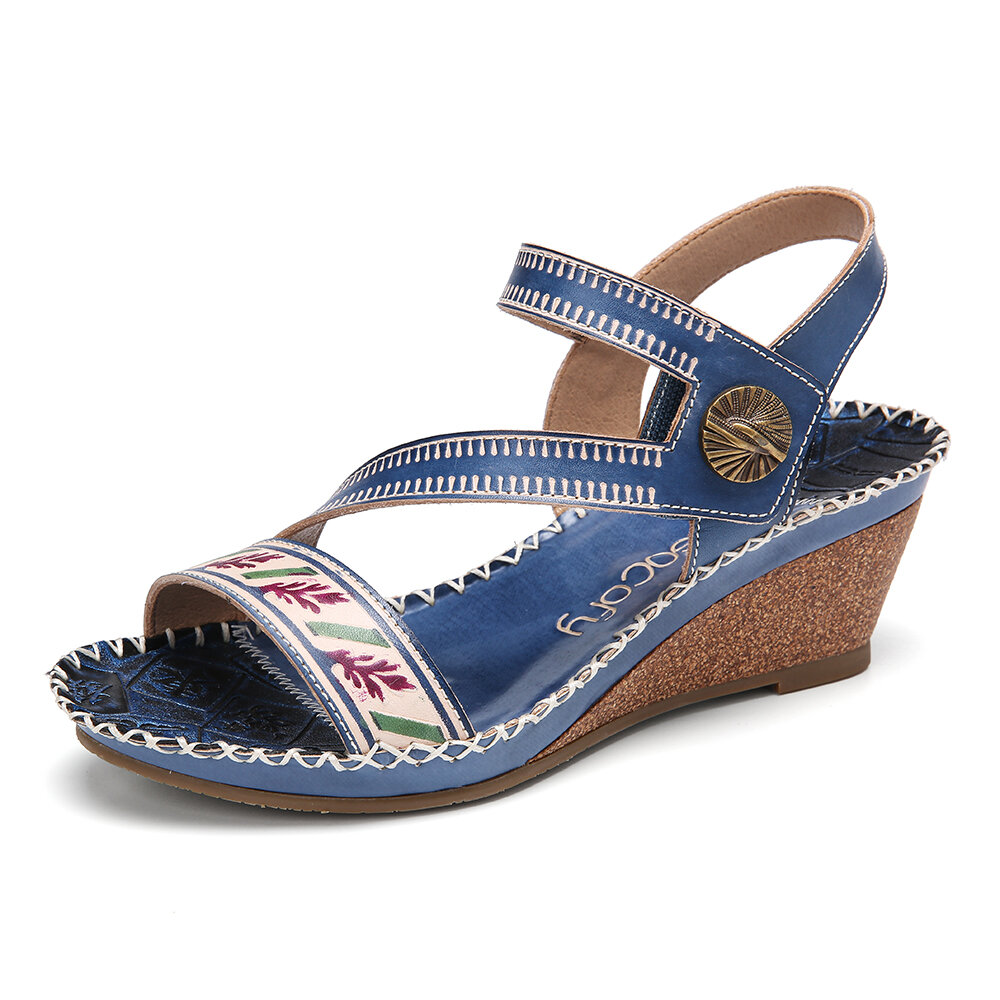 SOCOFY Handmade Leather Ankle Strap Stitching Mid Heel Wedge Sandals