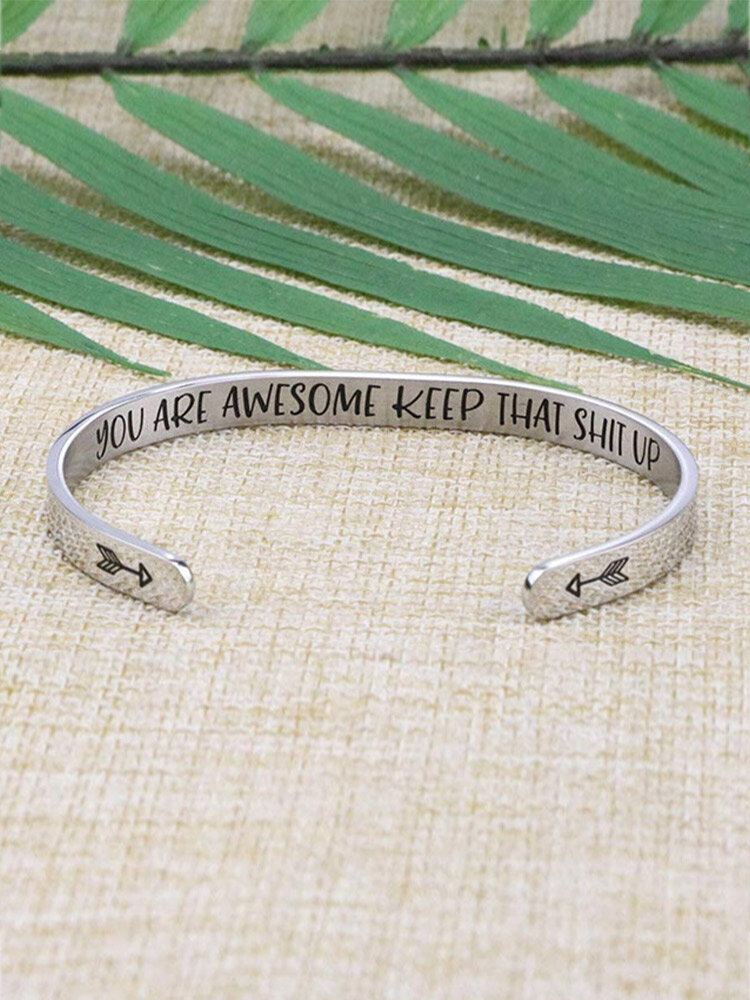 Trendy Engraved Letters C-shaped Opening Stainless Steel Bracelet