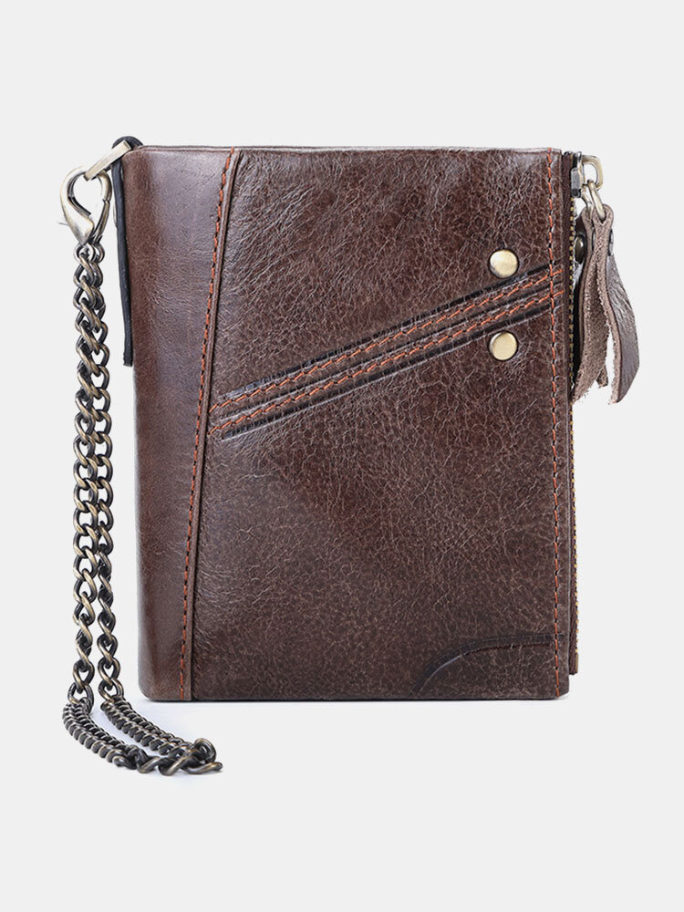 Men Vintage Chains RFID Genuine Leather Cow Leather Multi-card Slots Coin Purse Wallet