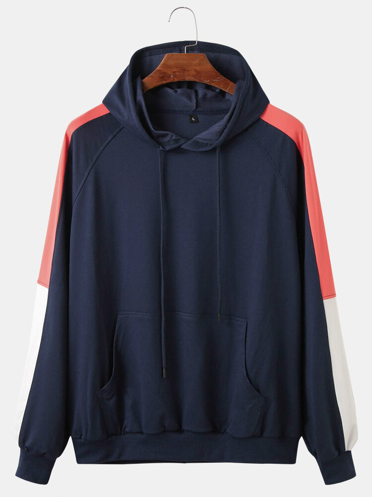 Mens Casual Loose Colorblock Patchwork Long Sleeve Hoodies With Muff Pocket